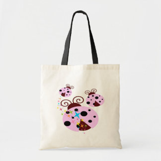 Three pink and black ladybug with stars tote bag