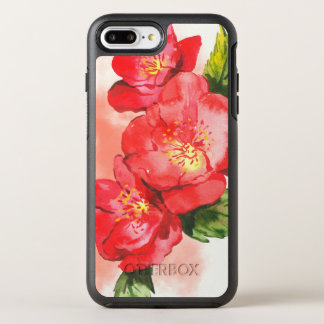 Three Pink and Red Watercolor Roses OtterBox Symmetry iPhone 7 Plus Case