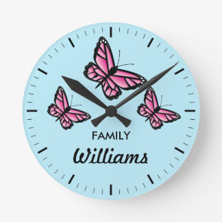Three Pink Butterflies With Family Name Round Clock