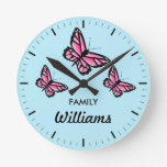 Three Pink Butterflies With Family Name Round Wall Clock