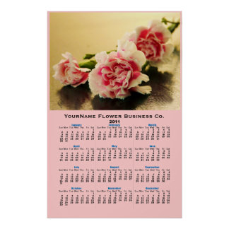 Three Pink Carnations Floral Wall Calendar Poster