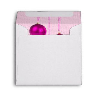 Three Pink Christmas Balls Envelope