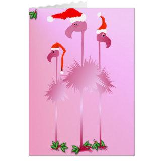 Three Pink Christmas Flamingos Greeting Cards