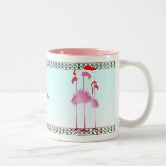 Three Pink Christmas Flamingos Two-Tone Coffee Mug