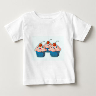Three Pink Cupcakes With Cherries Baby T-Shirt