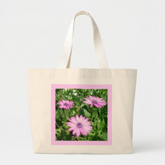 Three Pink Daisy Flowers Large Tote Bag