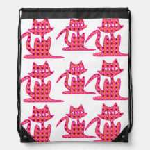 Three Pink Floral Kittens Drawstring Backpack