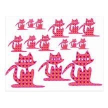 Three Pink Floral Kittens Postcard