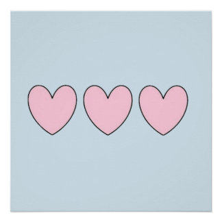 Three Pink Hearts on Pastel Blue Poster
