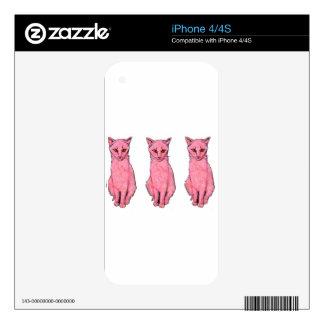 Three Pink Kitties Skin For iPhone 4S