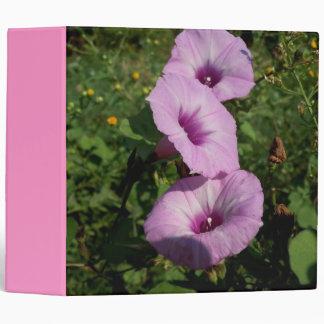 Three Pink Morning Glories 3 Ring Binder