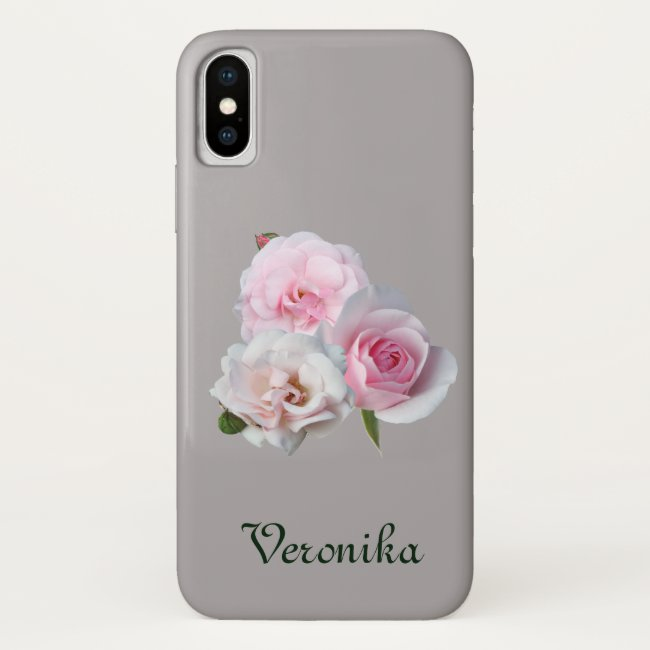 Three pink roses. Add name. Case-Mate iPhone Case