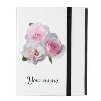 Three pink roses. Add your text. iPad Folio Case