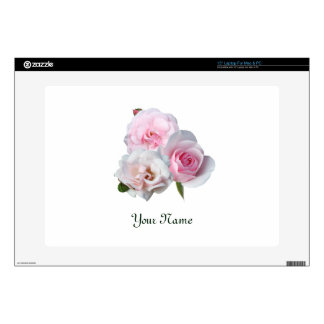 """Three pink roses. Add your text. Skins For 15"""" Laptops"""