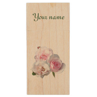Three pink roses. Add your text. Wood Flash Drive