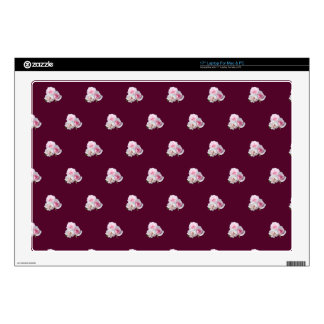 """Three pink roses. Floral pattern. 17"""" Laptop Decal"""