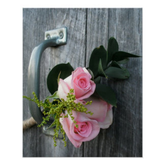 Three Pink Roses | Rustic Barn Wood Poster