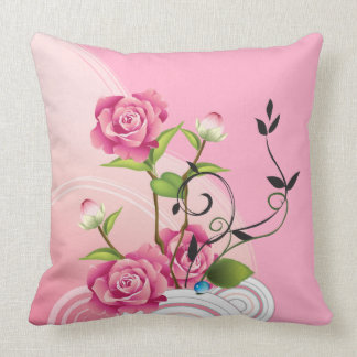 Three Pink Roses Throw Pillows