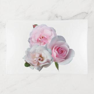 Three pink roses trinket trays