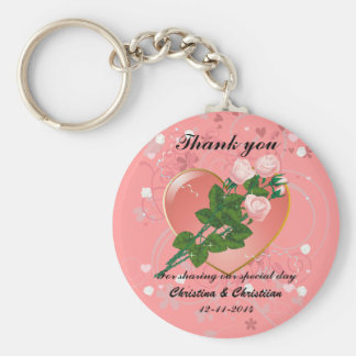 Three Pink  Roses Wedding Guest Thank You Basic Round Button Keychain