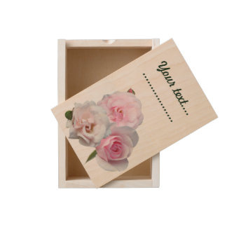Three pink roses. wooden keepsake box