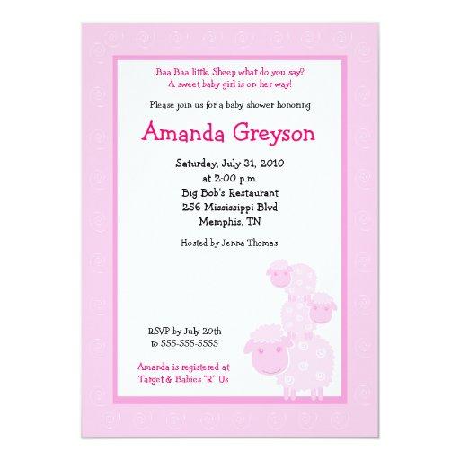 "Three Pink Sheep Farm 5x7 Baby Shower Invitation 5"" X 7"" Invitation Card   Zazzle"