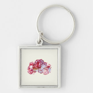 Three Pink-Tipped Carnations Keychain