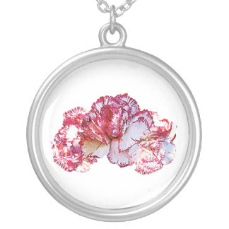 Three Pink Tipped Carnations Round Pendant Necklace