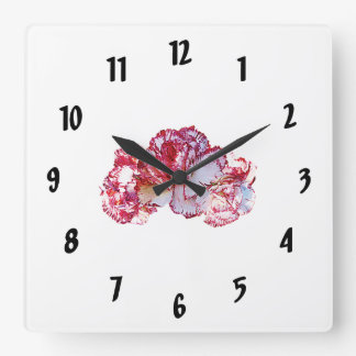 Three Pink-Tipped Carnations Square Wall Clock