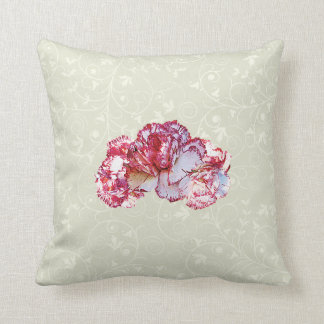 Three Pink-Tipped Carnations Throw Pillow