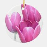 Three Pink Tulips Ornaments