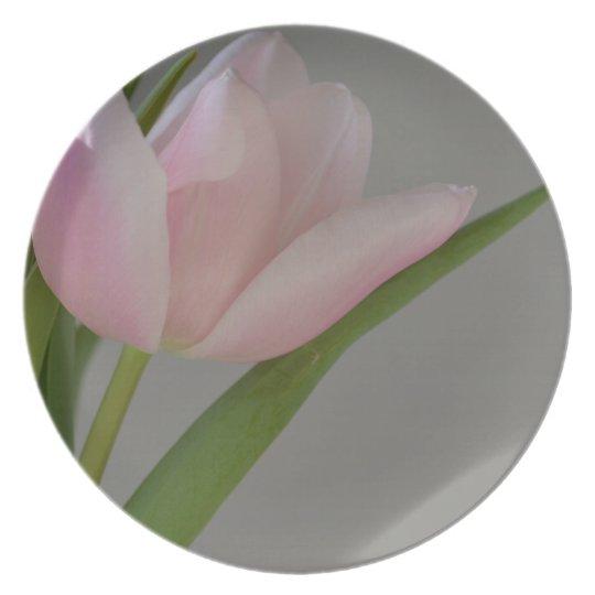 Three Pink Tulips Plate