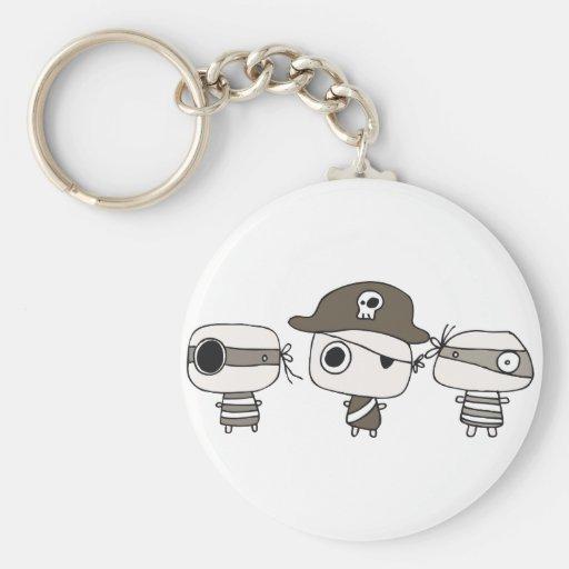 Three pirates brown keychains