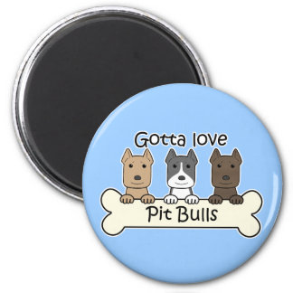 Three Pitbulls 2 Inch Round Magnet