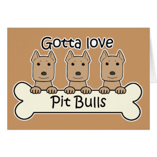 Three Pitbulls Card