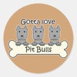 Three Pitbulls Classic Round Sticker