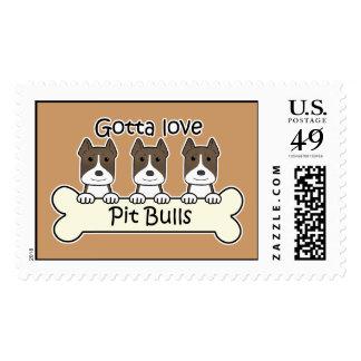 Three Pitbulls Postage Stamps