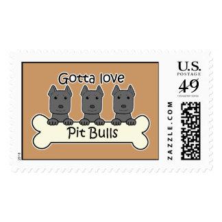 Three Pitbulls Stamp