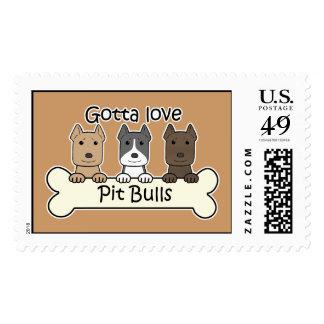 Three Pitbulls Postage Stamp