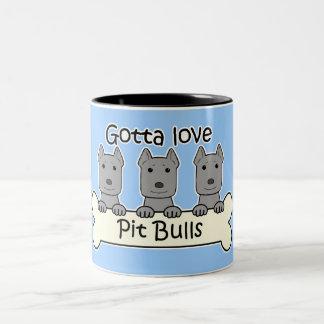 Three Pitbulls Two-Tone Coffee Mug