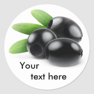 Three pitted black olives classic round sticker