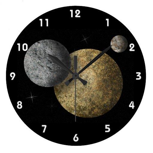 Three Planets 2 Round Wall Clocks Zazzle