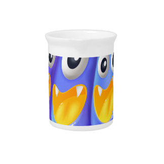 Three playful blue monsters beverage pitcher