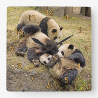 Three Playing Panda Cubs Wall Clock