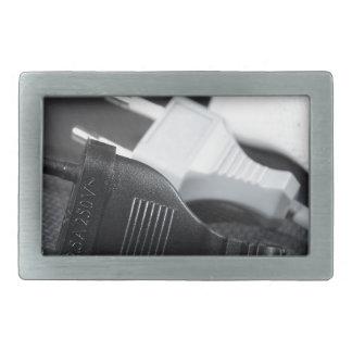 Three plugs rectangular belt buckle