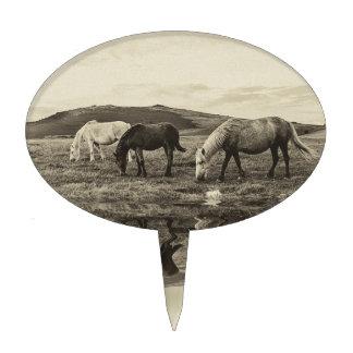 Three pony`s cake topper