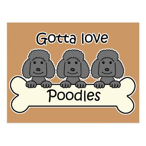 Three Poodles Postcard