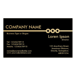 Three Portholes Line - Black (on Gold Card) Double-Sided Standard Business Cards (Pack Of 100)