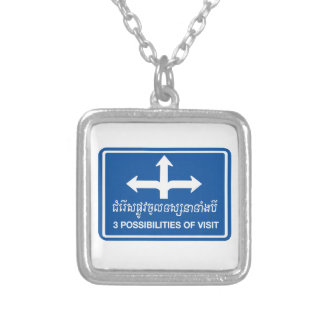 Three Possibilities of Visit Sign, Cambodia Silver Plated Necklace