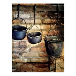 Three Pots in Colonial Kitchen Postcard